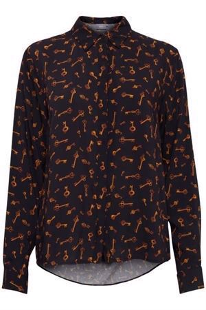 B.young ByFriche Print Shirt Key Black Combi