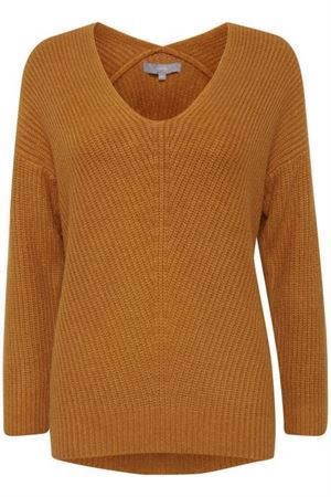 B.young ByMadia V Neck Jumper Golden Oak