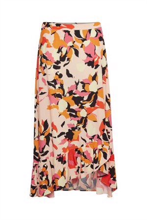 Denim Hunter Paris Flower Print Skirt Peach Parfait