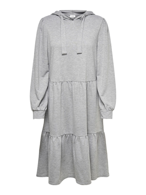JDY Dale L/S Hood Sweat Dress Light Grey