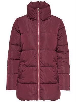 JDY Erica Long Padded Jacket Red Plum