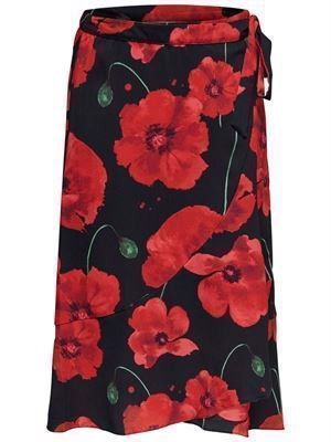 JDY Indie Midi Wrap Skirt Black/Firey Red