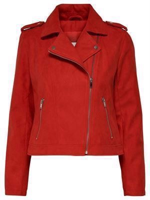 JDY Inu Short Faux Suede Jacket Fiery Red