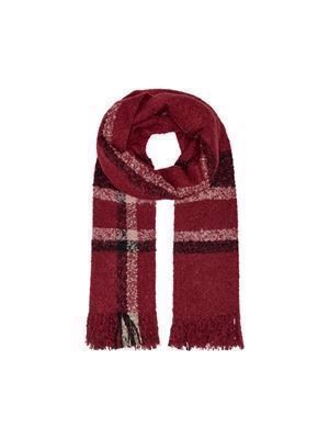 JDY Lia Woven Check Scarf Pomegranate Checks