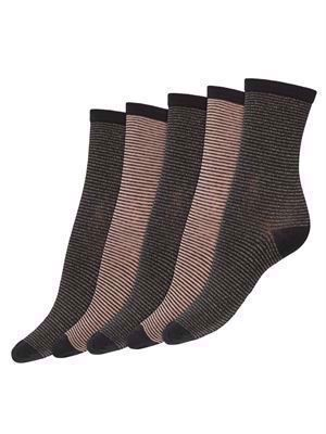 JDY Sparkle Stripe 5-Pack Lurex Socks Dark Grey Melange