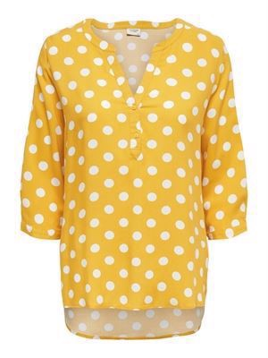 JDY Star 3/4 Placket Top WVN Spicy Mustard