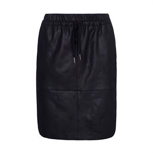 One Two Madeleine Coated Suede Skirt Black