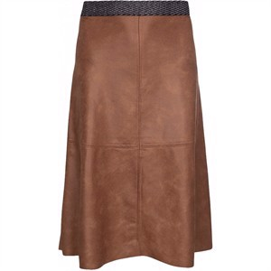One Two Madelina Coated Suede Skirt Brandy