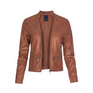 One Two Maise Coated Suede Jacket Brandy