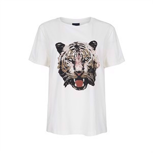 One Two T-Shirt Head of Tiger Cream