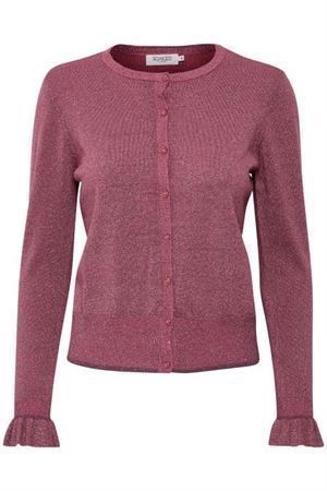 Soaked in Luxury Dulcie Cardigan LS Rose Wine Lurex