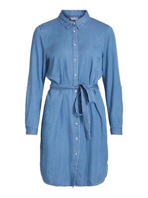 VILA ViBista Denim Belt Dress/SU - Noos - Medium Blue Denim