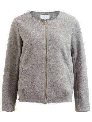 VILA ViDory Short Light Jacket Light Grey Melange