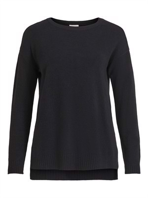 VILA ViRil High Low L/S Knit Top Noos Black
