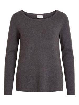 VILA Viril Knit Zipper L/S Top Dark Grey Melange
