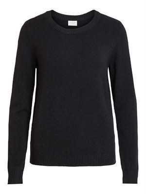 VILA Viril L/S O-Neck Knit Top - Noos - Black