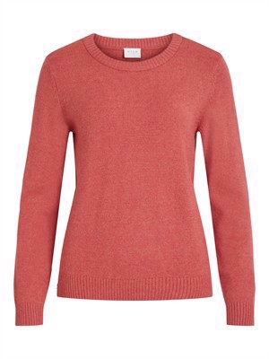 VILA ViRil L/S O-Neck Knit Top - Noos - Dusty Cedar