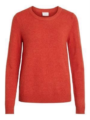 VILA Viril L/S O-Neck Knit Top - Noos - Ketchup