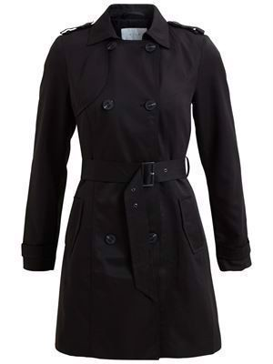 VILA ViThree Long Trenchcoat - Noos - Black