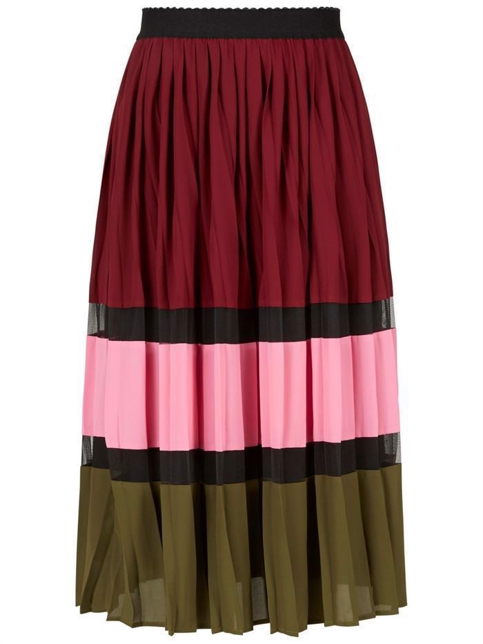 YAS Elouise Pleated Skirt Fired Brick